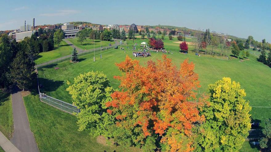 Drone shot of the activity fields at UMD.