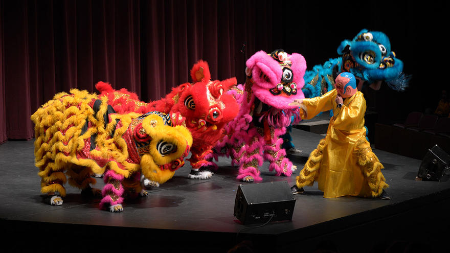 Colorful Asian dragons on stage