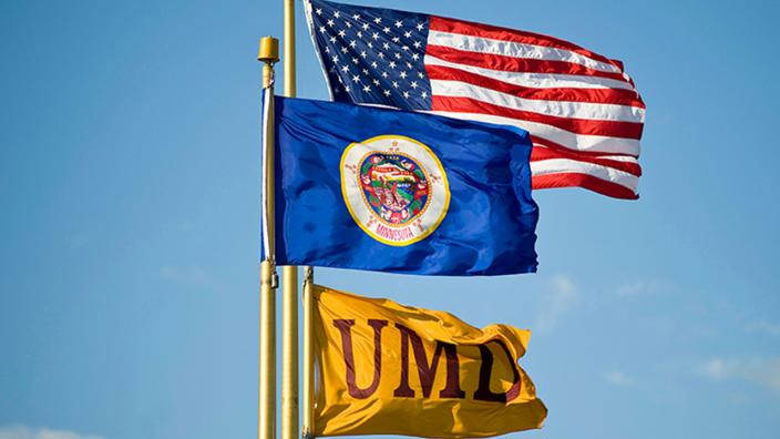 UMD, MN, and US Flags