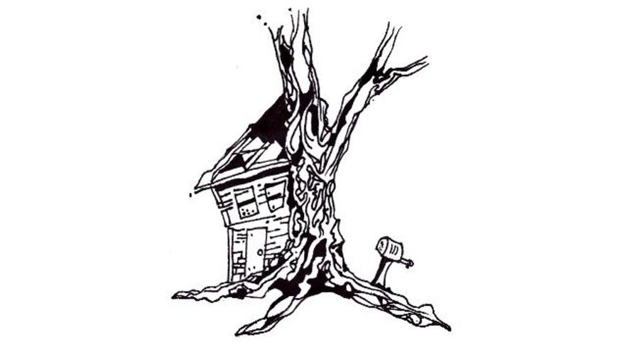 Line drawing of a tree with a house on the side of it