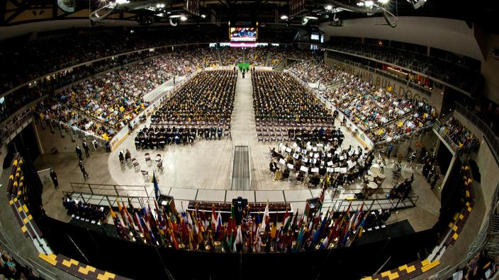 Shot of the 2016 graduation at Amsoil Arena from the rafters