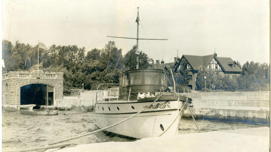 1914? photo of Hesperia, the Congdon's yacht, at Glensheen pier. University of Minnesota Duluth Glensheen historic mansion, Duluth, Minnesota