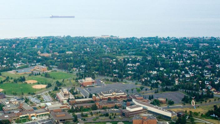 Aerial view of UMD and surrounding neighborhood