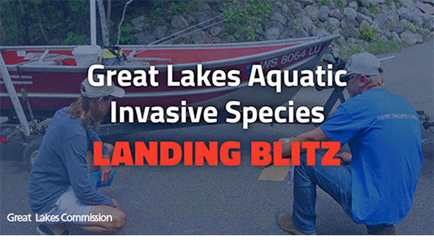 "Two people crouched down looking at fishing boat, over the image are the words ""Great Lakes Aquatic Invasive Species Landing Blitz"""