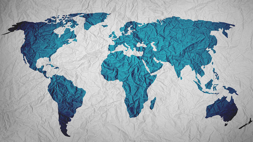 Blue map of the world on grey background