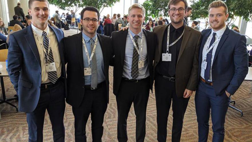 UMD LSBE Marketing Analytic students (from left): Tucker Hazzard, Michael Gorbatenko, Sam Ott, Joey Kmiec, and Austin Steinmetz
