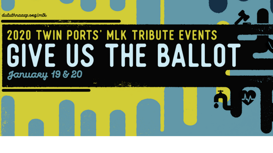 """Martin Luther King Jr. Day event poster with the words """"Give Us The Ballot"""""""
