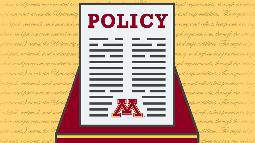 """Graphic of a piece of paper with the word """"Policy"""" at the top"""