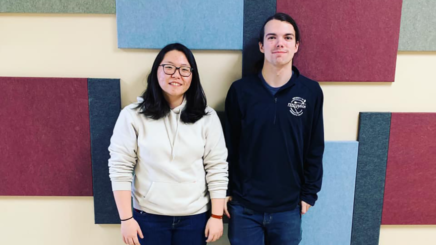 UMD music students Sae Bin An and Cody Anderson.