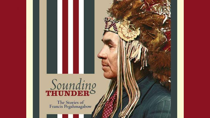 Book cover with an image of a man wearing an Native American headdress