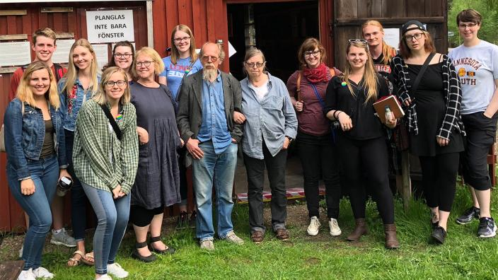 UMD Students at glassmaking studio in Sweden