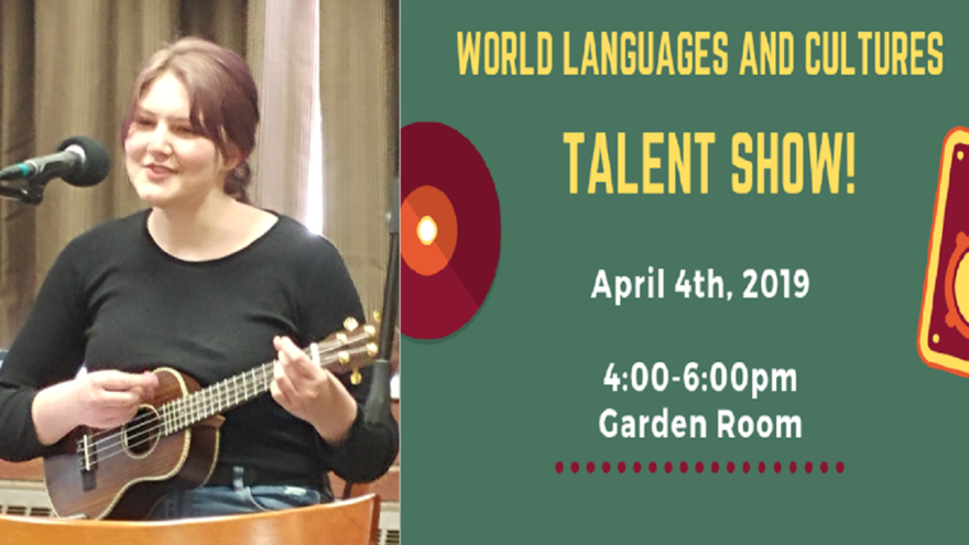 Female UMD student playing the ukulele with the words World Languages and Cultures Talent Show