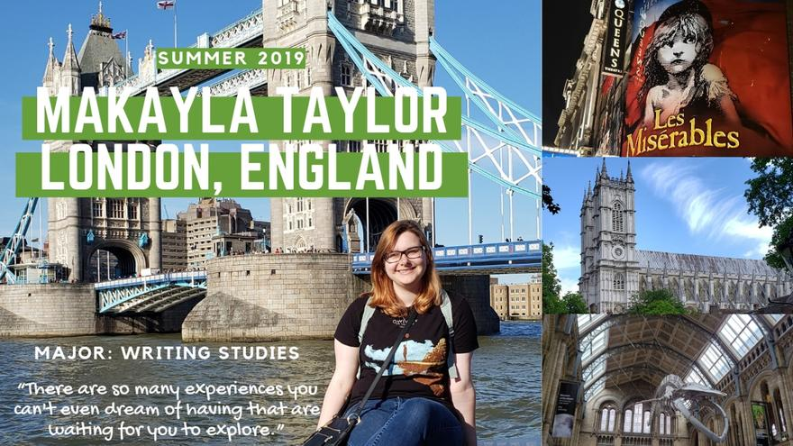 UMD student Makayla Taylor seated with London's Tower Bridge in the background.