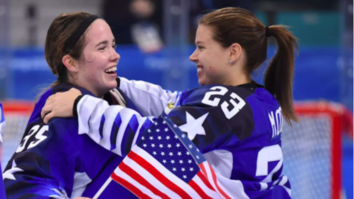 UMD students Maddie Rooney and Sidney Morin, celebrate the Team USA win.