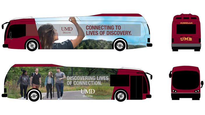 Artist rendering of UMD-wrapped electric bus