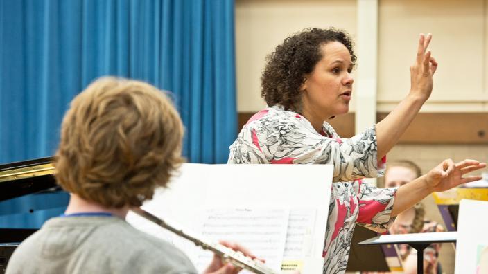 UMD Music Professor Paula Gudmundson teaching