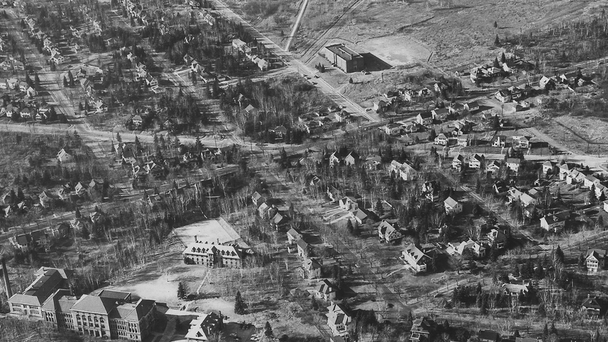 Old Main campus from air- early 1900s