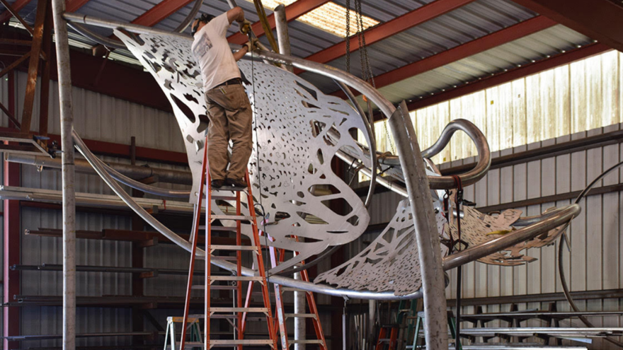 Polytropos in the studio, UMD's new large public art sculpture