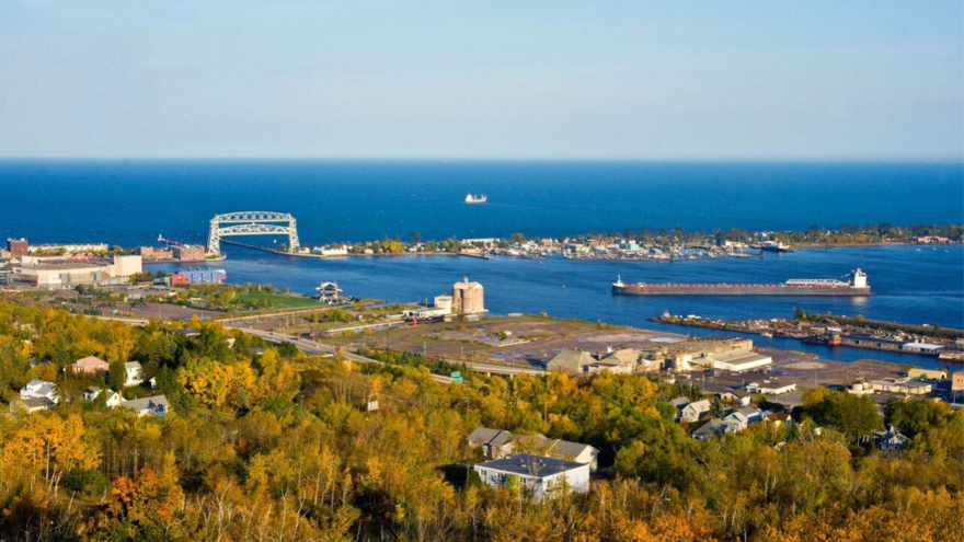Fall in Duluth with Lift Bridge in the distance