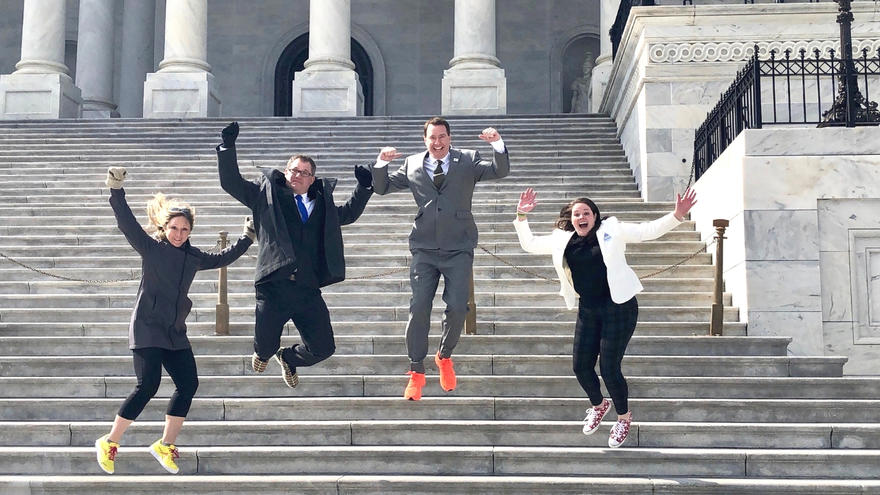 UMD instructor on steps at Capital Hill