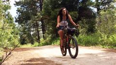 Alexandera Houchin, UMD, riding her bike during the Tour Divide