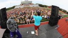 Crowd at stadium during 2016 Bulldog Welcome Week.