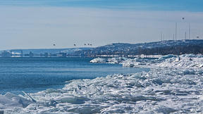 Lake Superior in the winter, ice on the shore