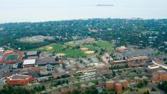 Ariel shot of UMD's campus and Lake Superior