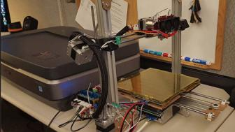 Student Alex Stecker built the 3D printer shown above from a kit.