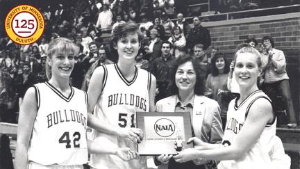 Linda Larson and her team celebrate the season.