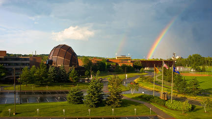 UMD campus with rainbow in the sky