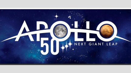 The Words Apollo 50 Next Giant Leap over image of star-filled space