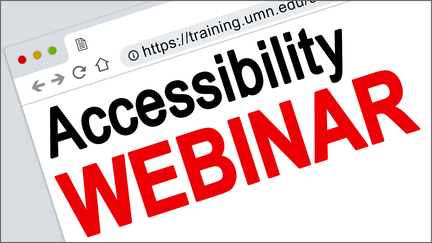 The words Accessibily Webinar