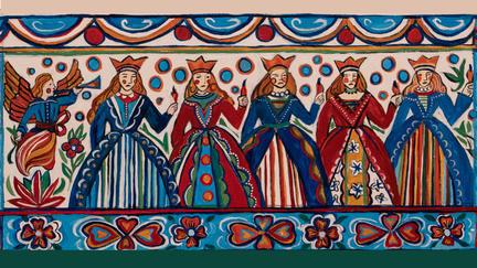 "Painting: Swedish Wise and Foolish Virgins, acrylic on canvas, 10"" x 40 2019"