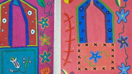 UMD Professor Alison Aune's painting of brightly colored flowers