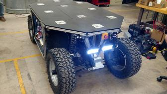UMD senior project, an air force mule, with the lights on