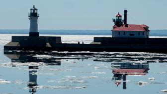 Duluth lighthouse and ice in Lake Superior