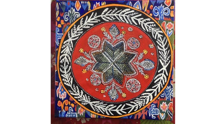 "Art piece by UMD Professor Alison Aune, ""Norwegian Star"" acrylic and paper on canvas. The center of the piece mimics beadwork."