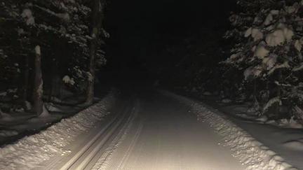Boulder Lake Environmental Learning Center cross country ski trail illuminated at night