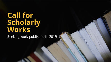 """The words """"Call for Scholarly Works"""" and books."""