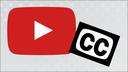 YouTube logo with closed caption logo