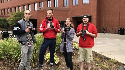 Bret Holland, Jude Bass, Heidi Stang, and Sam Caswell are four of the UMD students who made area location photos for the Catalyst organization.