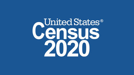 Words United States Census 2020 on blue background