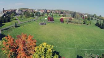Fall ariel shot of campus