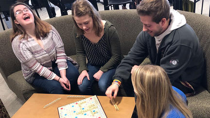 UMD students in Kirby Student Center playing a game.