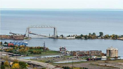 View of Duluth Aerial Bridge and Lake Superior