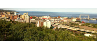Duluth skyline with lake
