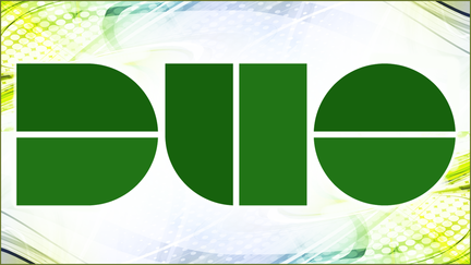 "The word ""Duo"" in green type"
