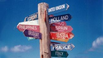 sign post of citys around the world