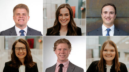 UMD LSBE students: Tucker Burquest, Maddie Milbrath, Nick Miller, Haley Rinzel, Grant Thompson, Heather Quarnstrom